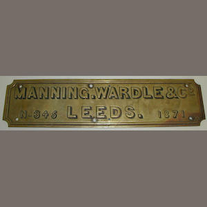Locomotive makers plate Manning. Wardle & Co.