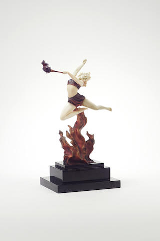 Ferdinand Preiss 'Flame Leaper' a Fine Cold-Painted Bronze and Carved Ivory Figure, circa 1925