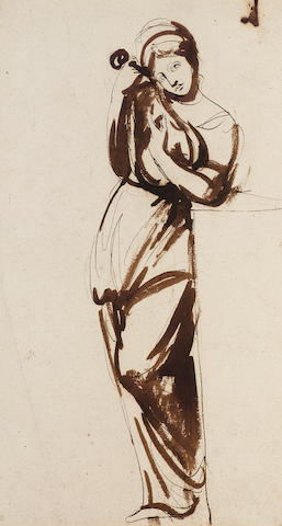 George Romney (British, 1734-1802) Study for a lady with a lyre 40 x 22 cm. (15 3/4 x 8 3/4 in.) unframed