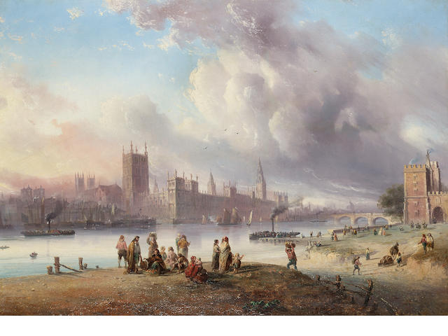 Carlo Bossoli (Italian 1815-1884) A view of Westminster Palace from Lambeth; A view of the City of L