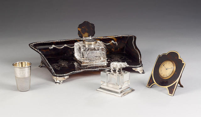 An Edwardian tortoiseshell and silver mounted desk stand,  by William Comyns, London 1904/5,