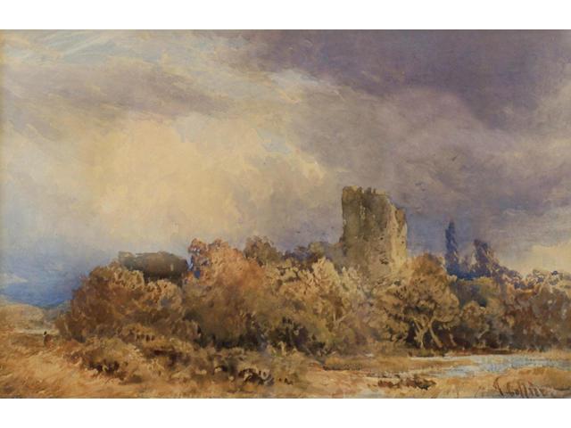 Thomas Collier (1840-1891) 'Castle ruins in a stormy landscape', 22 x 34cm