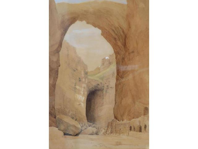 Circle of David Roberts (1796-1864) 'Constantina, natural arch in ravine' 49 x 34cm