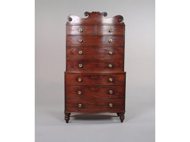 A William IV mahogany bowfront chest on chest