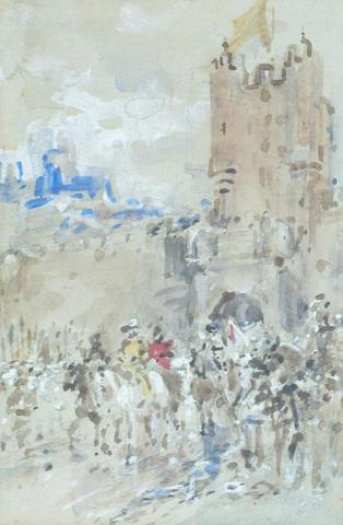Ernest Crofts (1847-1911) 'Cavalcade outside a castle', 18 x 12cm