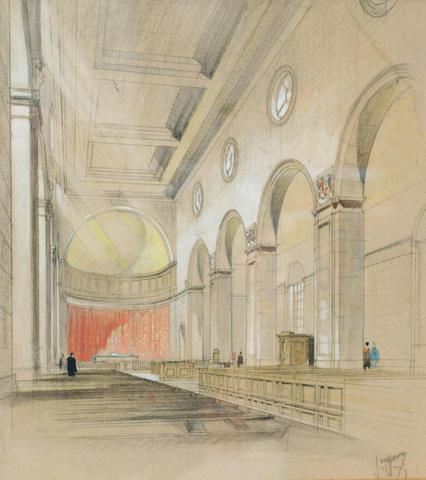 J D M Harvey (early 20th Century) 'The new church of St Paul, Sheffield', 40 x 37cm