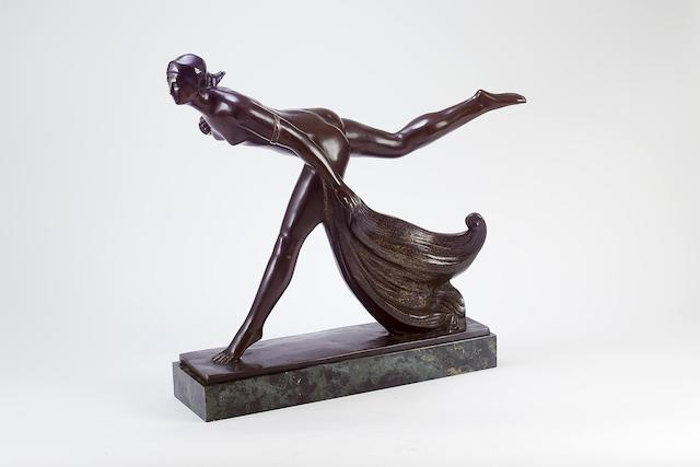 Raoul Eugène Lamourdedieu A Bronze Figure of a Female Nude, circa 1920