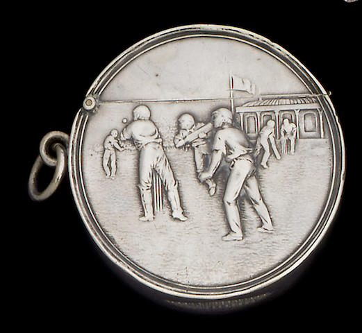 Cricketing interest: An Edwardian silver vesta case, by Sydenham Brothers Ltd, Birmingham 1906,