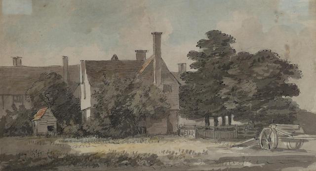 Paul Sandby, R.A. (British, 1730-1809) A manor house 16 x 28 cm. (6 1/4 x 11 in.)