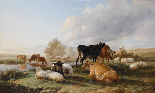 Thomas Sidney Cooper, RA (British 1803-1902) In the White Hall meadows, Canterbury 120 x 197 cm. (47 x 77 1/2 in.)