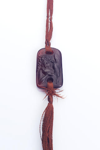 René Lalique 'Colombes' a Ruby Red Glass Pendant, design 1920