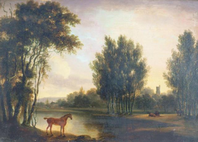 English School (19th century) 'Horse in a woodland landscape', 21 x 29cm