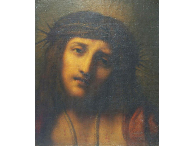 After Guido Reni 'Head and shoulders portrait of Christ with a crown of thorns' 31 x 26cm