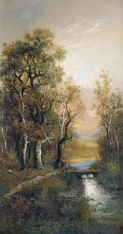 F Deleraine (late 19th/early 20th century) 'Figures in a winter landscape', 57 x 31cm