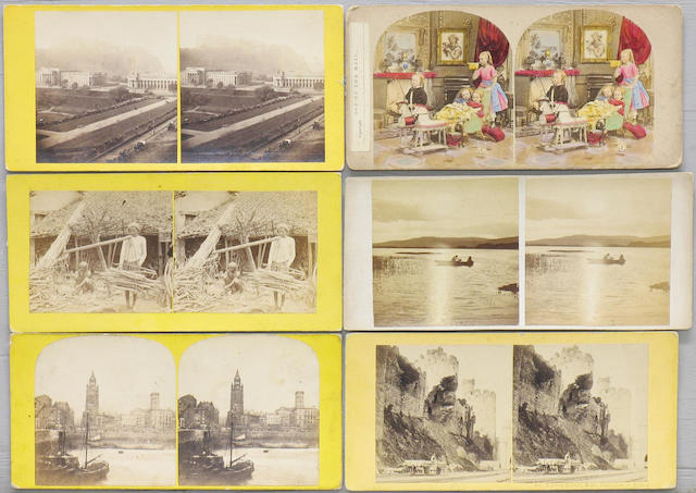 Stereoscopic views, over two hundred flat mount, mainly British and continental European.