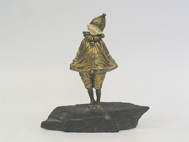 Dimitri Chiparus 'Little Clown' a Gilt Bronze and Carved Ivory Figure, circa 1920