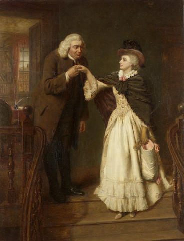 William Powell Frith, RA (British 1819-1909) Dr. Johnson & Mrs. Siddons 98 x 77 cm. (38 1/2 x 30 1/4
