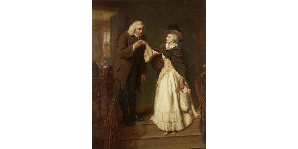 William Powell Frith, RA (British 1819-1909) Dr. Johnson & Mrs. Siddons 98 x 77 cm. (38 1/2 x 30 1/4 in.)