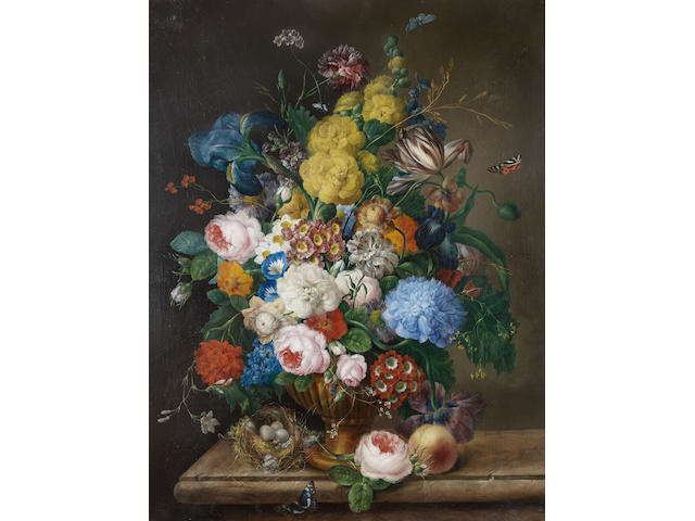 Franz Xaver Petter (Vienna 1791-1866) Roses, irises, carnations, tulips and other flowers 85 x 66 cm. (33½ x 26 in.)