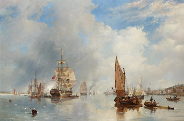 John Wilson Carmichael (British, 1799-1868) On the Thames at Woolwich, with the 'Buckinghamshire' Indiaman going down the river 75 x 111.2cm. (29 1/2 x 43 3/4in.)