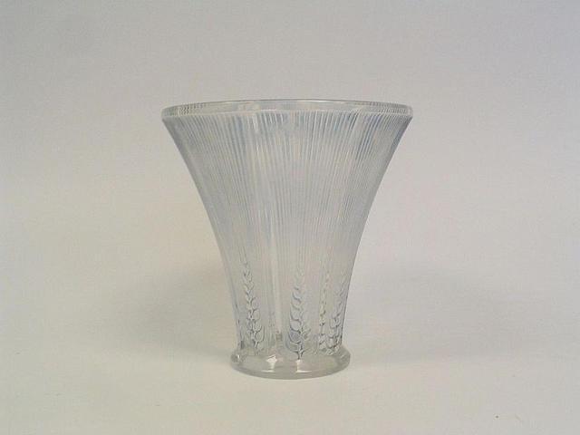 René Lalique 'Épis' a Clear and Stained Glass Vase, design 1931