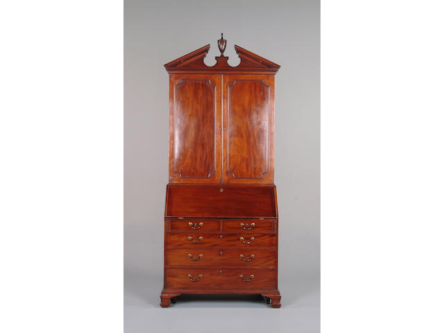 An early George III mahogany bureau bookcase