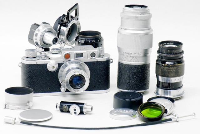 Leica IIIb camera and lenses.