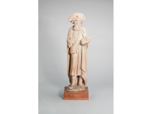 A Flemish carved oak figure of Saint James