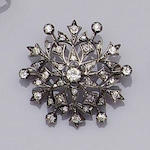 A diamond 'snowflake' brooch