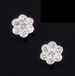 A pair of diamond flowerhead cluster earstuds