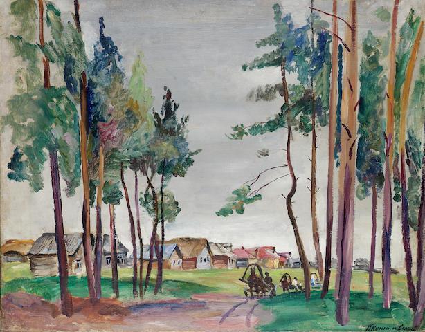 Petr Petrovich Konchalovsky (Russian, 1876-1956) Village scene, Riazan 73 x 92 cm. (28 3/4 x 36 1/4 in.)