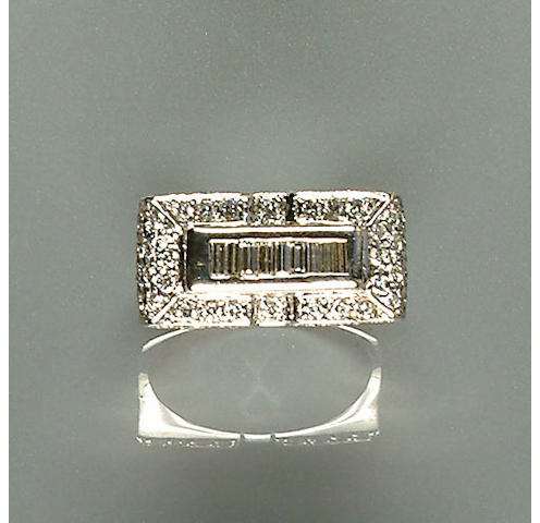 50109290066 A diamond set white metal dress ring