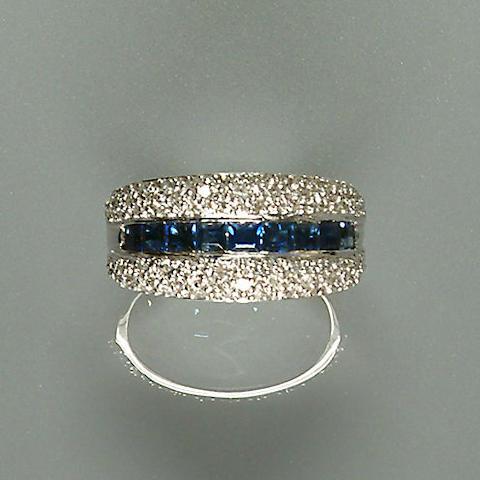 50309290005 A diamond and sapphire-set white metal band ring