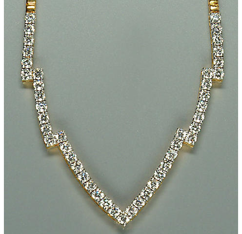 50104300027 A ladies brilliant-cut diamond set necklace, diamond approx. 3.00ct.