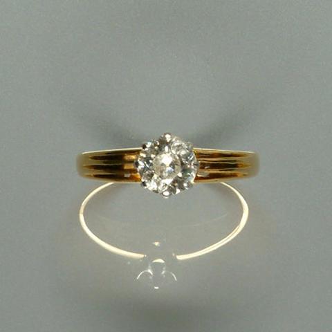 50106320076 An old brilliant-cut diamond single-stone ring, diamond approx. 1.25ct.