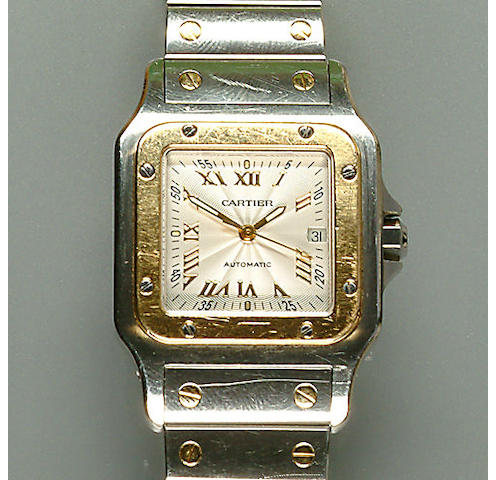 52022030127 An automatic steel and gold santos bracelet watch, by Cartier
