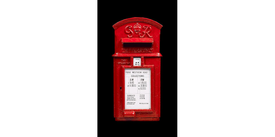 Royal Mail Memorabilia - Lamp Letter Boxes: A K.G.VI cast iron lamp letter box with hooded top manuf