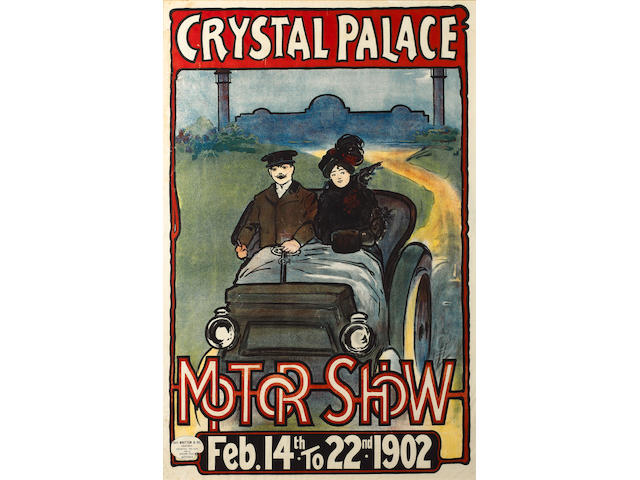 A Crystal Palace 1902 Motor Show poster, framed & glazed