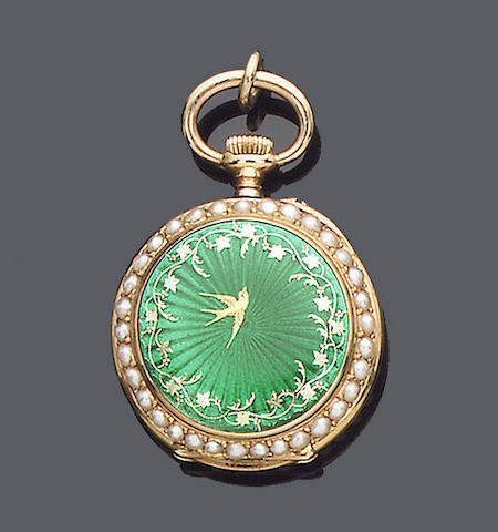 An early 20th century enamel and seed pearl fob watch, Swiss, (3)