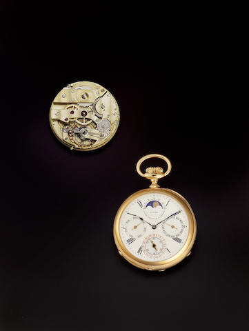 Patek Philippe & Co. Geneve. An extremely fine and rare 18ct rose gold open face perpetual calendar pocket watch made for the Russian market, manufactured in 1890, sold on January 14th 1901 Movement No.80768, Case No.210491