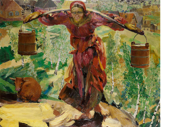 Philip Andreevich Maliavin, 1869-1940 Carrying the water 81 by 100 cm. (32 x 39 1/4 in.)