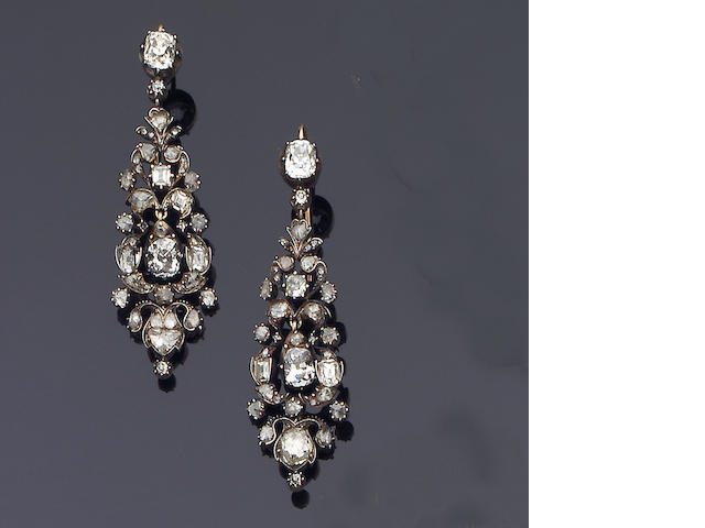 A pair of early 19th century diamond earpendants,