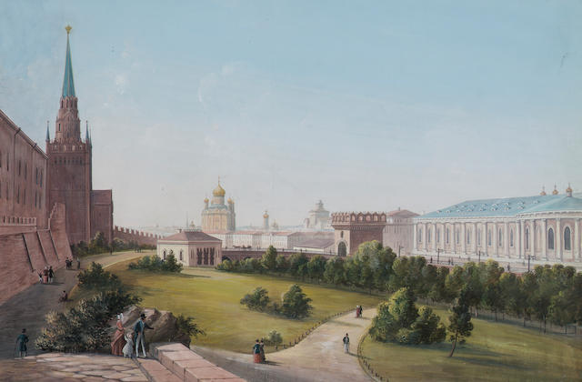 Russian School, circa 1880 View from the Moscow Kremlin 26 x 40 cm. (10 1/4 x 15 3/4 in.)