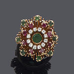 A ruby, emerald and diamond cluster ring