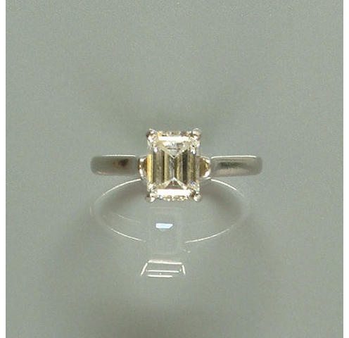 A diamond single-stone ring,, by Tiffany and Co.