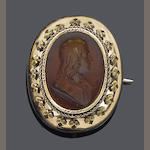 A mid 19th century intaglio brooch