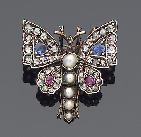 A late Victorian gemset butterfly brooch,