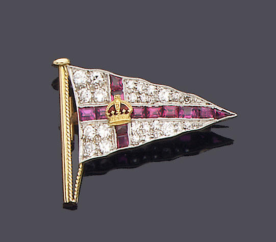 A ruby and diamond Royal Yacht Club brooch,