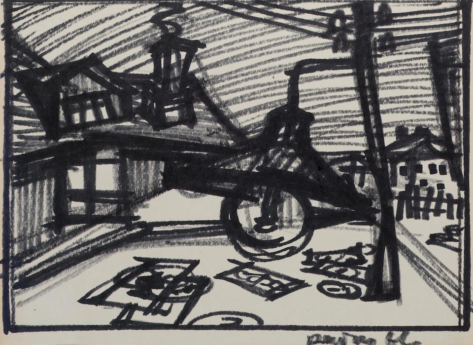 Oscar Yakolevich Rabin, b.1928 Five drawings: the largest: 29 x 41.5 cm. (11 1/2 x 16 1/4 in.); the smallest 20.5 x 29 cm. (8 x 11 1/2 in.) (5)