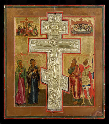 An icon of the Crucifixion, 19th century 43.5 x 38 cm. (17 x 15 in.)